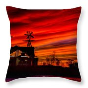Red And Orange Sky Throw Pillow