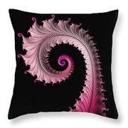 Red And Pink Fractal Spiral Throw Pillow
