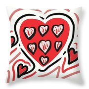 Red And Pink Hearts 2 Throw Pillow