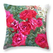 Red And Pink Roses Throw Pillow