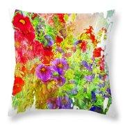 Red And Purple Calibrachoa - Digital Paint II Throw Pillow