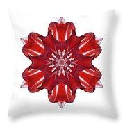 Red And White Amaryllis Vii Flower Mandala White Throw Pillow