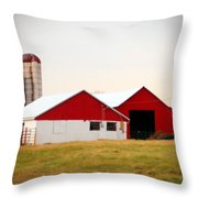 Red And White Barn Throw Pillow