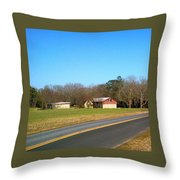 Red And White Barn With Trees Throw Pillow