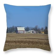 Red And White Barns Throw Pillow