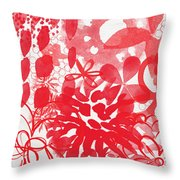 Red And White Bouquet- Abstract Floral Painting Throw Pillow
