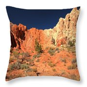 Red And White Caps Throw Pillow