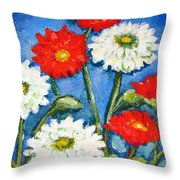 Red And White Flowers With A Blue Sky Throw Pillow