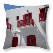 Red And White In Mykonos Throw Pillow