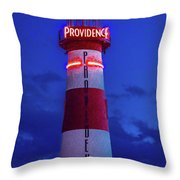 Red And White Lighthouse Shows Neon Throw Pillow