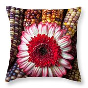Red And White Mum With Indian Corn Throw Pillow