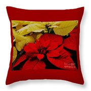 Red And White Poinsettias Throw Pillow