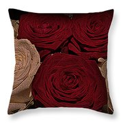 Red And White Roses Color Engraved Throw Pillow