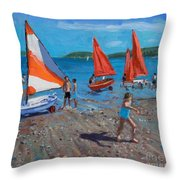 Red And White Sails Throw Pillow by Andrew Macara
