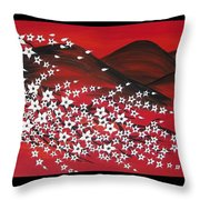 Red And White Sakura Throw Pillow
