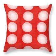 Red And White Shibori Circles Throw Pillow