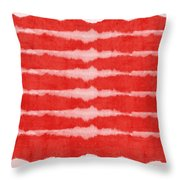 Red And White Shibori Design Throw Pillow by Linda Woods