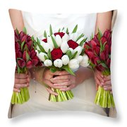 Red And White Tulip And Rose Wedding Bouquets Throw Pillow