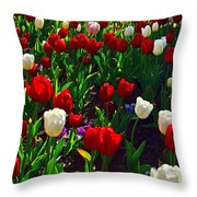 Red And White Tulip Art Throw Pillow