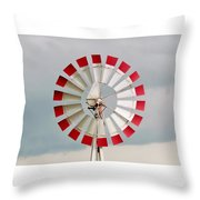 Red And White Windmill Throw Pillow