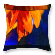 Red And Yellow Bloom In A Blue Paradise Throw Pillow