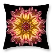 Red And Yellow Dahlia Iv Flower Mandala Throw Pillow