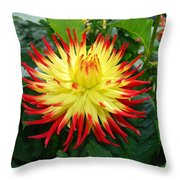 Red And Yellow Flower Throw Pillow
