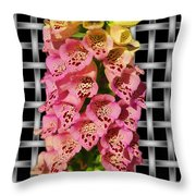 Red And Yellow Hollyhocks Throw Pillow