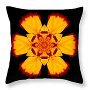 Red And Yellow Marigold II Flower Mandala Throw Pillow