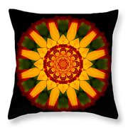 Red And Yellow Marigold V Flower Mandala Throw Pillow