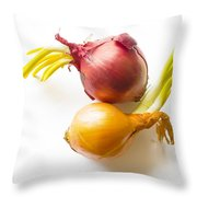 Red And Yellow Onion With Sprout Throw Pillow
