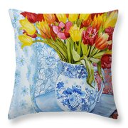 Red And Yellow Tulips In A Copeland Jug Throw Pillow by Joan Thewsey