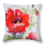 Red Anemones Throw Pillow