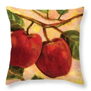 Red Apples On A Branch Throw Pillow