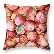 Red Apples With Green Leaf Throw Pillow