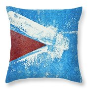 Red Arrow Painted On Blue Wall Throw Pillow