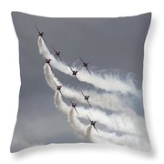 Red Arrows Flying In Formation Throw Pillow