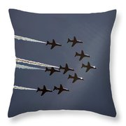 Red Arrows Flying Into The Sun Throw Pillow