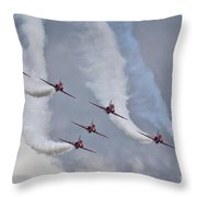 Red Arrows Roll Left Throw Pillow
