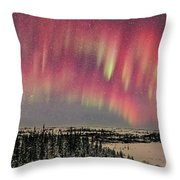 Red Aurora Panorama 1 Feb 12, 2016 Throw Pillow