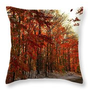 Red Autumn Road In Snow Throw Pillow