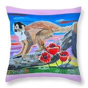 Red Backed Squirrel Monkey Base On A Photo By Larry Linton Throw Pillow