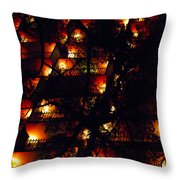 Red Balconies Throw Pillow