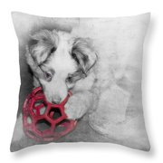 Red Ball Throw Pillow