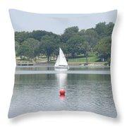 Red Ball Sailing Throw Pillow