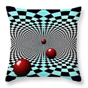 Red Balls Triptych Throw Pillow