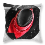 Red Bandana And Cowboy Hat Throw Pillow