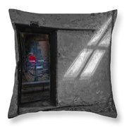 Red Barber Chair Throw Pillow