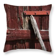 Red Barn Abstract Throw Pillow by Rebecca Sherman
