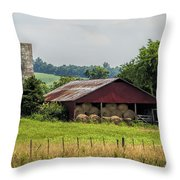Red Barn And Bales Of Hay Throw Pillow